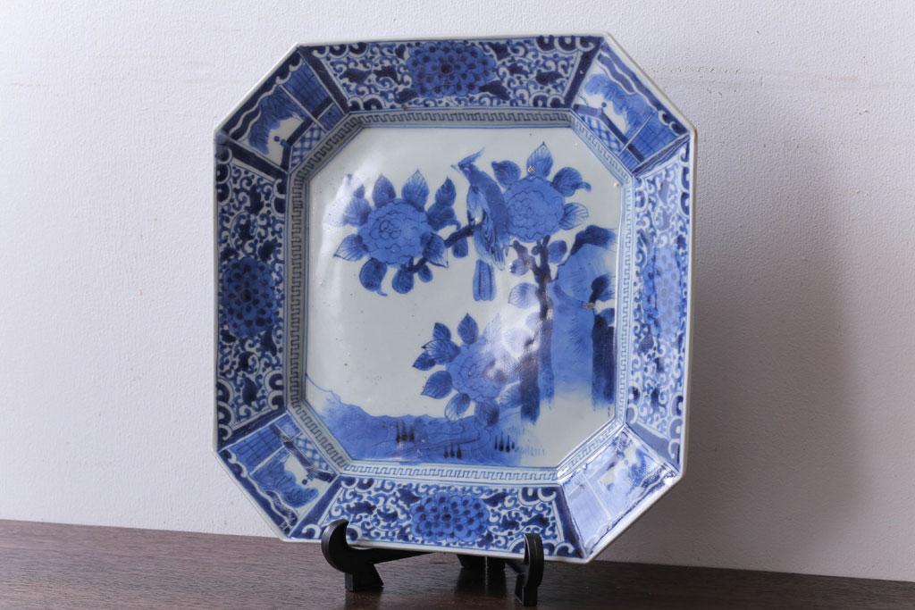 片付けで見つかった先祖の古道具の大皿(染付皿)。